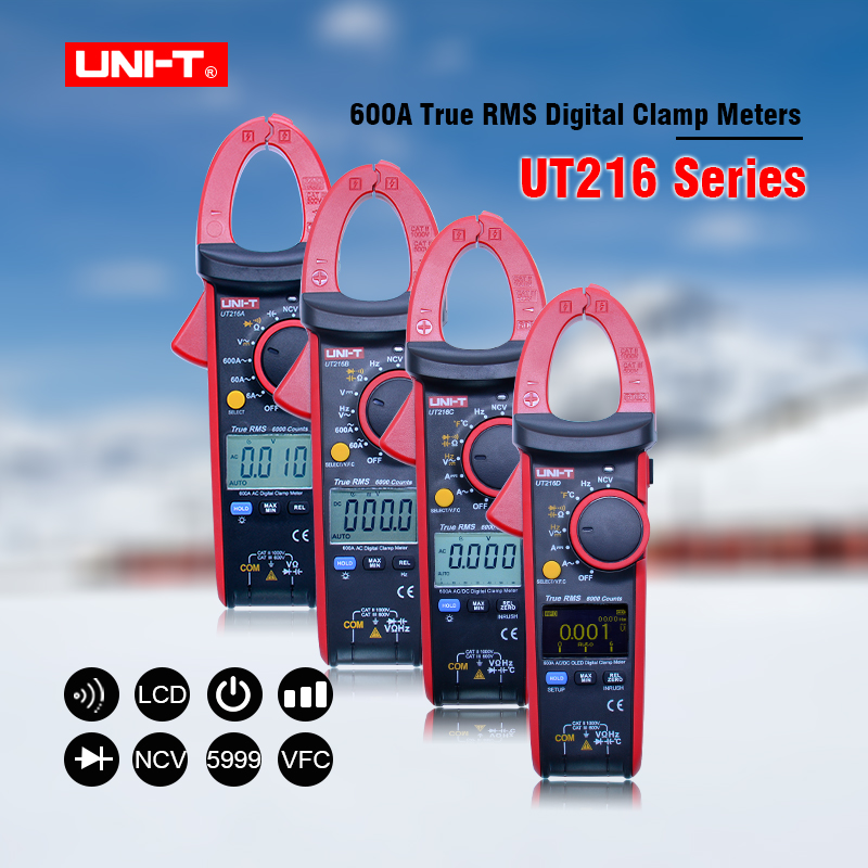 UNI-T Digital clamp meter ac dc Multimeter UT216 Series 600A ture rms Auto Range Tongs Testers with data hold backlight new fluke 303 clamp multimeter ac dc handheld 600a 30mm 4000ohm with backlight