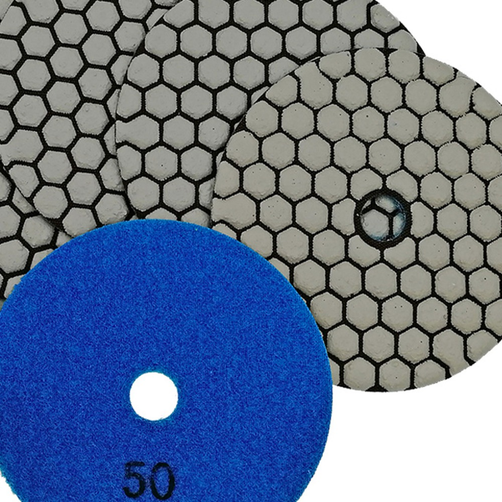 "Image 5 - SHDIATOOL 6pcs 4""/100mm Grit 50 Diamond Dry Polishing Pad Granite Marble Flexible Resin Sanding Disc Ceramic Stone Polisher disc-in Polishing Pads from Tools"