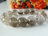 xiuli 00549 Natural Silver Rutilated Quartz Crystal Bracelet 16mm as Father's Day Gift