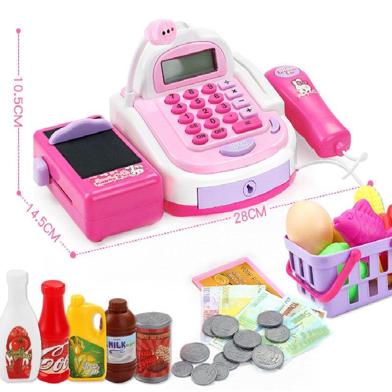 Mini Simulation Supermarket Checkout Counter Foods Goods Toys Kids Pretend Play Shopping Cash Register Set Toy For Girl's Gift Karachi