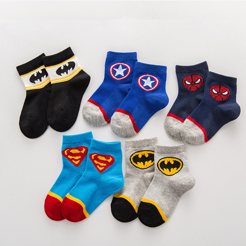 1 Pairs 2 To 8 Years Kids Cartoon Socks Super Hero Neonatal Girls Breathable Short Socks Children Baby Stuff Boys Cotton Socks