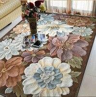 Шерсть большой размер ковры для гостиной спальни классическая Вышивка ковры с узорами напольные украшения ковер цветочный ковер