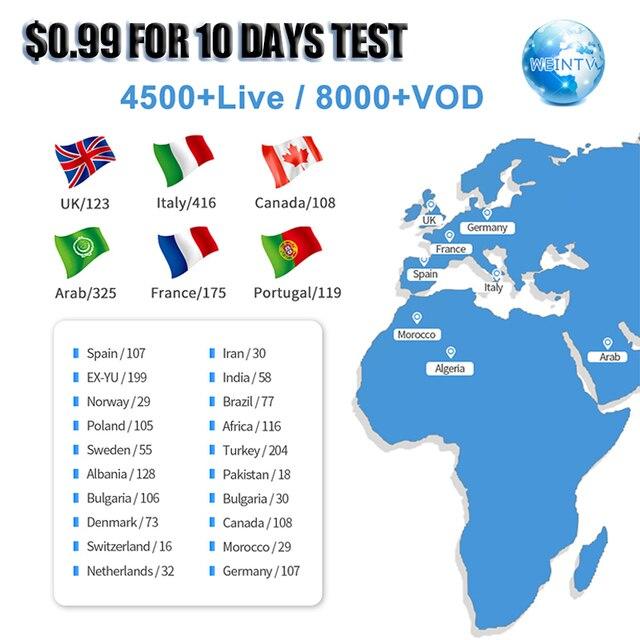 צרפתית תורכי איטלקית ערוץ IPTV אירופאי Candian אפריקאי SUBTV מבחן עבור אנדרואיד טלוויזיה תיבת 1 שנה WEINTV