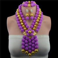 Purple African Beads Jewelry Set Gold color Ball Crystal Beads Jewelry Set Nigerian Wedding Jewellery Set Free Shipping
