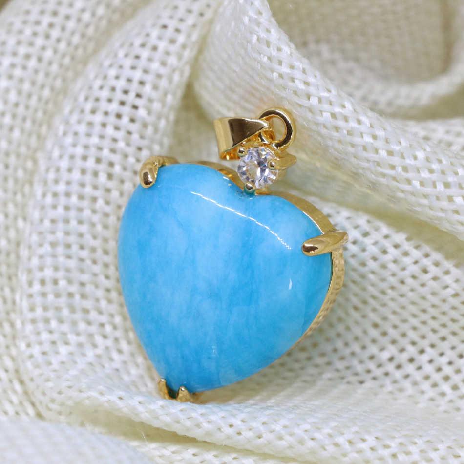 Declaración mujeres vintage antiguo corazón forma colgante incrustación hueco piedra azul Calcedonia cabujón oro-color joyería 22mm B1852