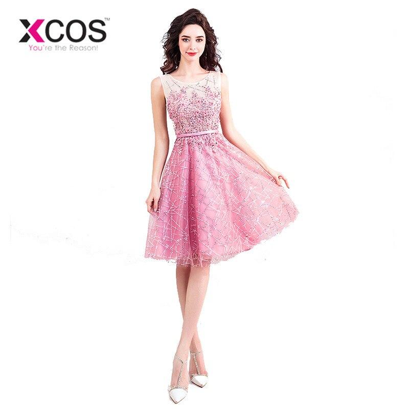 XCOS Pink Short   Prom     Dresses   2018 Shining Lace Sequin Party   Dresses   Elegant Evening   Dress   Women's Gown abendkleider