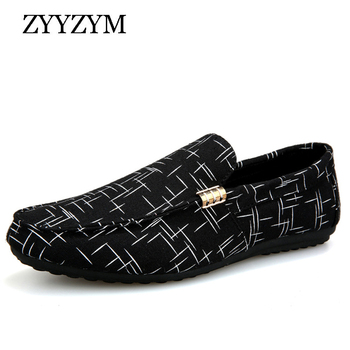 ZYYZYM Men Loafers Casual Shoes 2019 Summer New Slip On Light Canvas Youth Men Shoes Breathable Fashion Flat Footwear leather