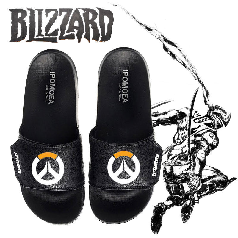 cb946bfb2 Game Printed Home Slippers Overwatch D.Va Reaper Genji Mei Cosplay  Men/Women flats lovers Casual summer Non-slip shoes unisex