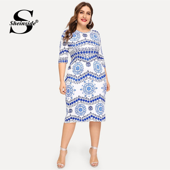 Sheinside Plus Size Elegant Porcelain Print Summer Dress Women 2019 Casual Half Sleeve Trim Midi Dresses Ladies Bodycon Dress