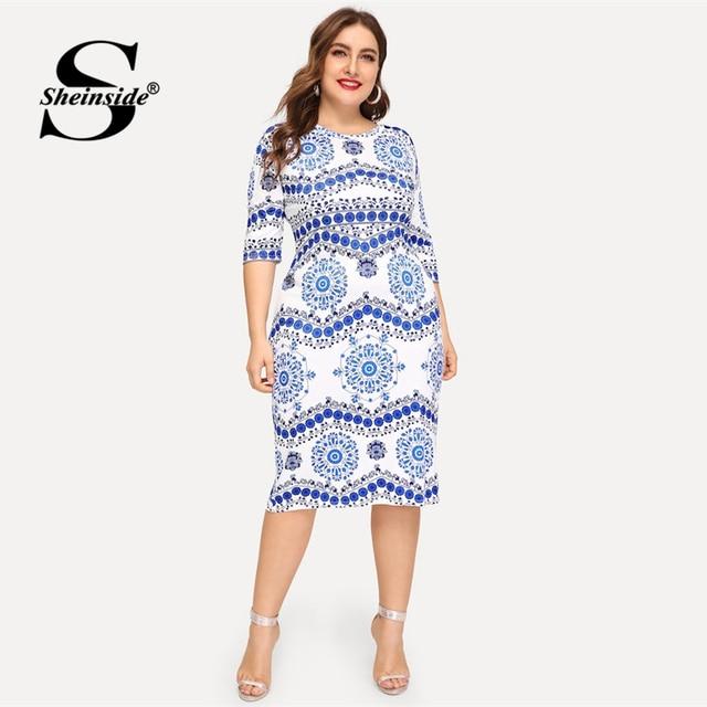 Sheinside Plus Size Elegant Porcelain Print Summer Dress Women 2019 Casual Half Sleeve Trim Midi Dresses Ladies Bodycon Dress