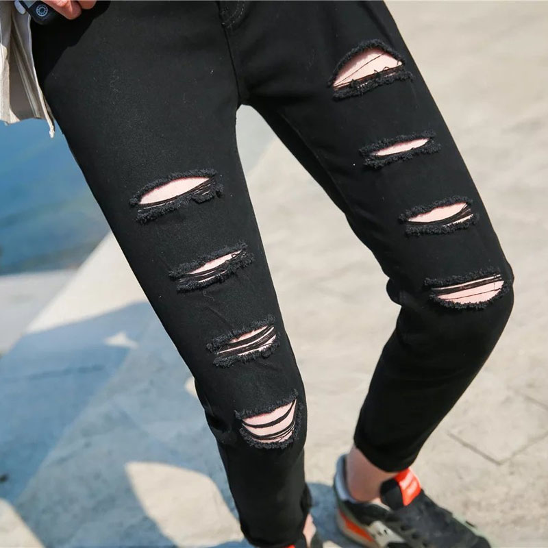 slim mid waist holes Men Jeans Stretch Destroyed Ripped Design Nine pants Fashion Korean Ankle Zipper Skinny Jeans For Man