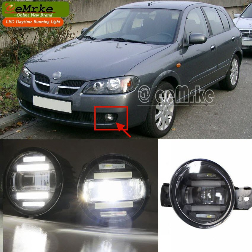 eeMrke Xenon White High Power 2in1 LED DRL Projector Fog Lamp With Lens For Nissan Almera N16 2002-2007 цена