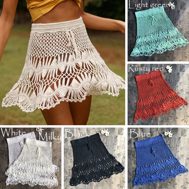 Handmade Crochet Boho Cotton Knitted Mini Skirts Women Summer High Waist Beach Hollow Out Mini Skirt Cool