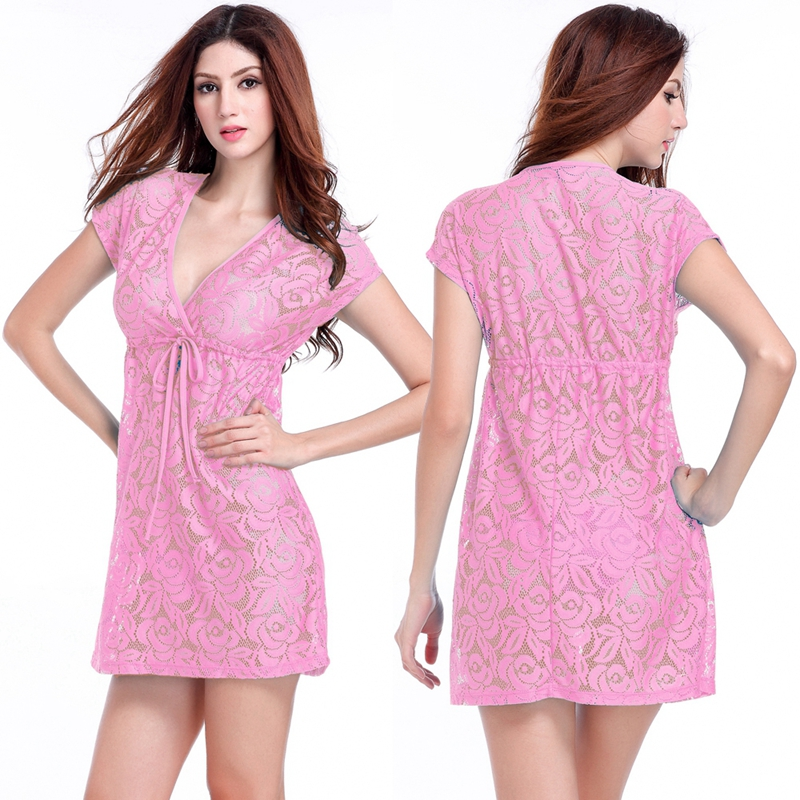 Comfort and Sexy 2017 Adjustable Tie Leisure Loose Big Women Plus Size Lace Dress S.M.L.XL.XXL