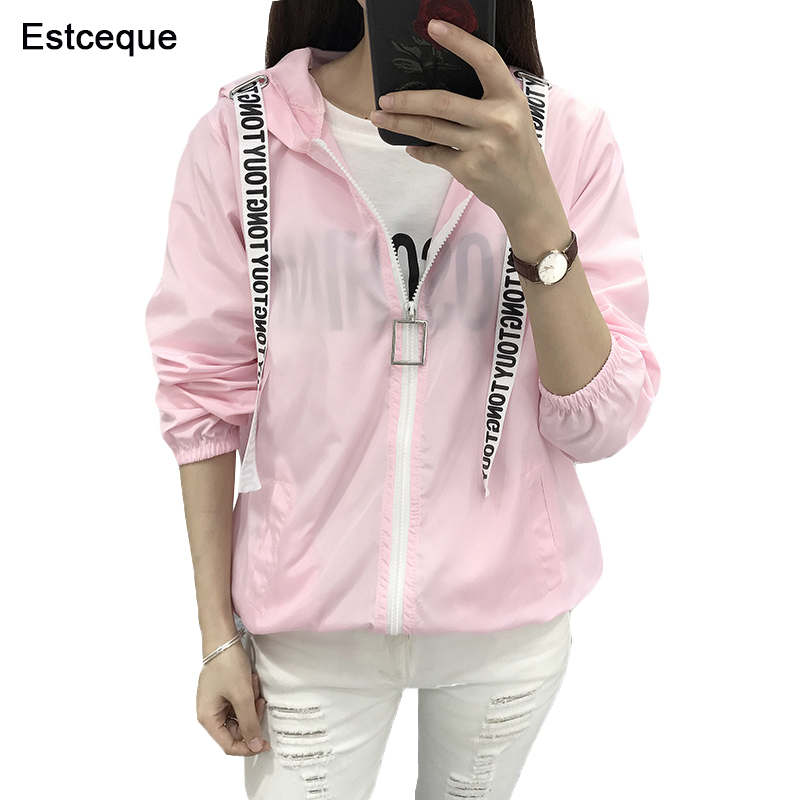 Jakas Sievietēm 2019 Jauns modes Bomber Jacket Sieviešu kapuci pamata jakas Ikdienas plānas vējjakas sieviešu apģērbs Sieviešu mētelis