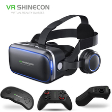 VR SHINECON 6.0 Headset Version Virtual Reality Glasses 3D Glasses Headset Smart Phones+Controller For Android iOS Phone