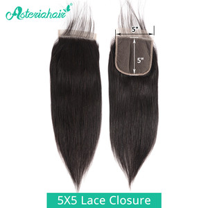 Brazilian Straight Hair 5X5 Lace Closure Free Part With Baby Hair Asteria 100% Human Hair Lace Closure 150% Density Remy Hair(China)