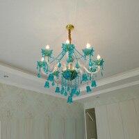 French deluxe blue chandelier home indoor hanging lighting modern led lustres de cristal living room star hotel restaurant lamp