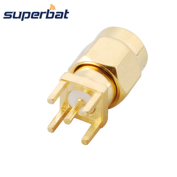 Superbat RP-SMA Male Plug (female Pin) Thru Hole Vertical PCB Mount Straight RF Coaxial Connector