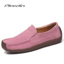 Mocassins Plardin femmes chaussures plates en cuir véritable femme mocassins sans lacet chaussures en daim mocasines mujer printemps automne
