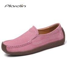 Plardin mocassins femininos sapatos de couro genuíno mulher senhora mocassins deslizamento em camurça sapatos mujer primavera autum