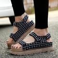{D & H} Плюс Size35-43 Решетки Платформы Летние Сандалии на Плоской Подошве Флип-Флоп Sandale Femme Женская Обувь 2017 новые Поступления