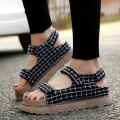 {D&H}Plus Size35-43 Lattice Platforms Sandals Summer Flat Shoes Flip Flops Sandale Femme Women Shoes 2017 New Arrivals