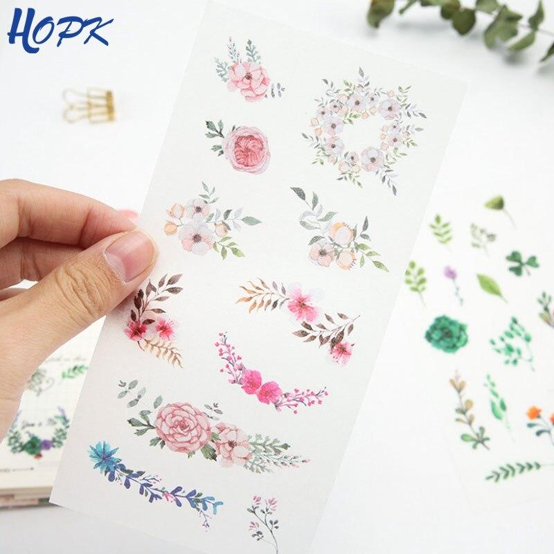 Купить с кэшбэком 6 Pcs/Pack Cute Flower Scrapbooking Stickers for Diary DIY Craft Decoracion Journal Photo Albums Decoration Sticker