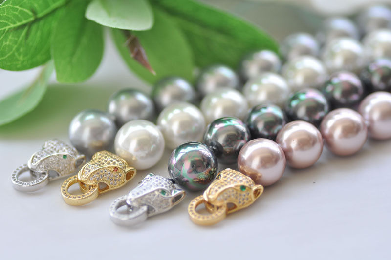 X0608 14mm Round South Sea Shell Pearl Bracelet CZ 8inch