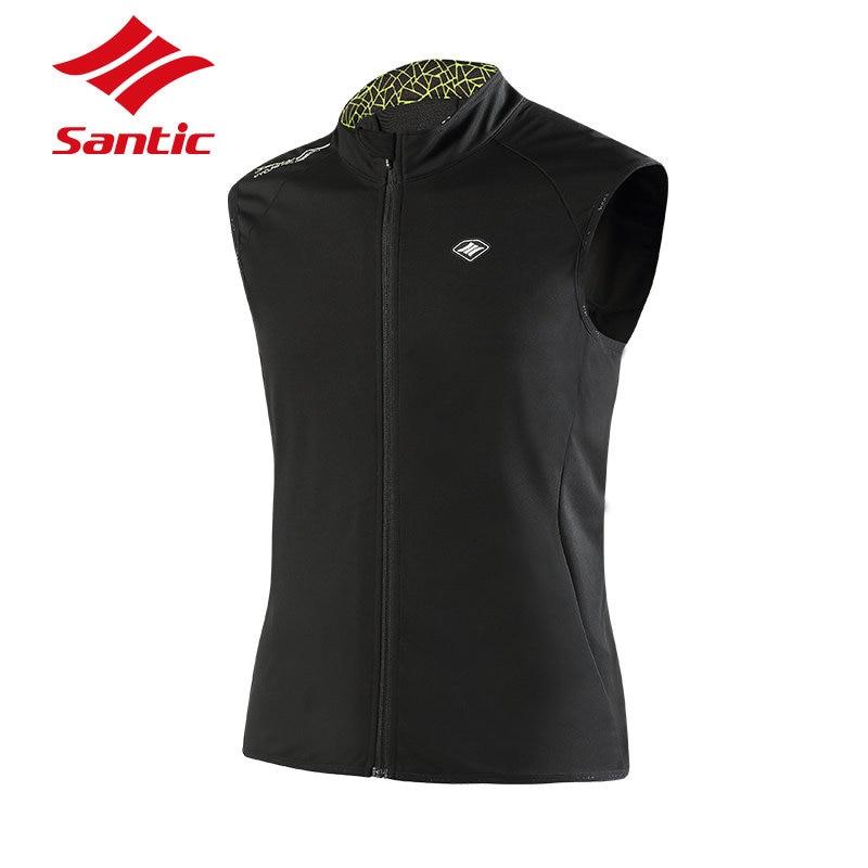 Santic Mens Cycling Jacket Windproof Warm Cycling Clothing Sleeveless Road Mountain Bike Jacket Waistcoat Winter Bicycle Jacket