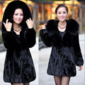 Women's Faux Fur Coat Fox Fur Collar Medium-long Hooded Thicken Fur Coats Plus Size S-XXXL-4XL-5XL  Overcoat