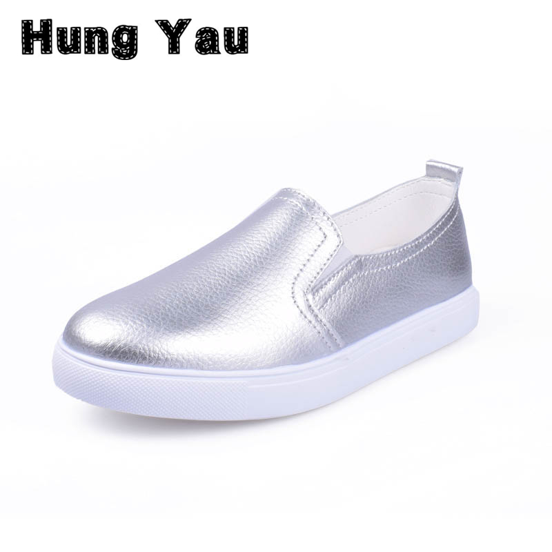 Hung Yau Loafers Slip On Women's Flat Shoes Casual Flats Women Comfortable Shoes Round Toe Female Shallow Shoes Plus Size 10 new women genuine leather flat shoes round toe slip on women flats ladies casual flat shoes comfortable loafers size 22 26 5 cm