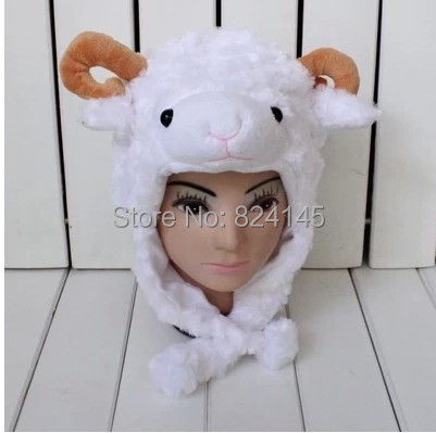 beanie Winter hats for kids and adults cartoon animal plush hat  white sheep Caps>>Skullies & Beanies beanie white rabbit cartoon animal hat props cap child hat caps skullies