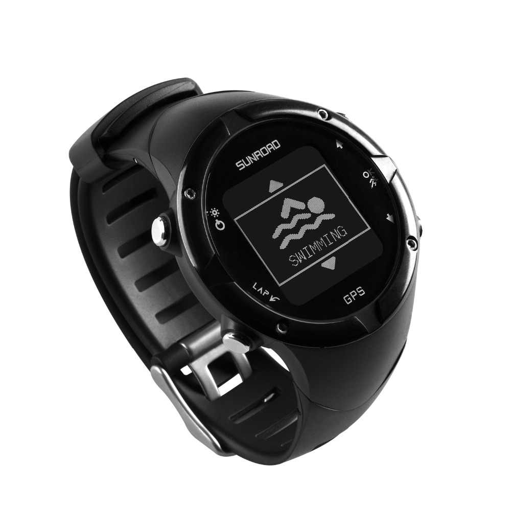 SUNROAD גברים ספורט GPS עמיד למים דיגיטלי שעוני יד עם GPS פדומטר מד גובה ריצה שחייה מדידה ספורט שעון