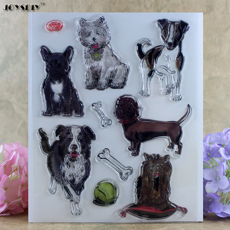 Many Puppy Pet dog doggy bone Scrapbook DIY photo cards account rubber stamp clear stamp transparent stamp card Stamper 14*18cm lovely animals and ballon design transparent clear silicone stamp for diy scrapbooking photo album clear stamp cl 278