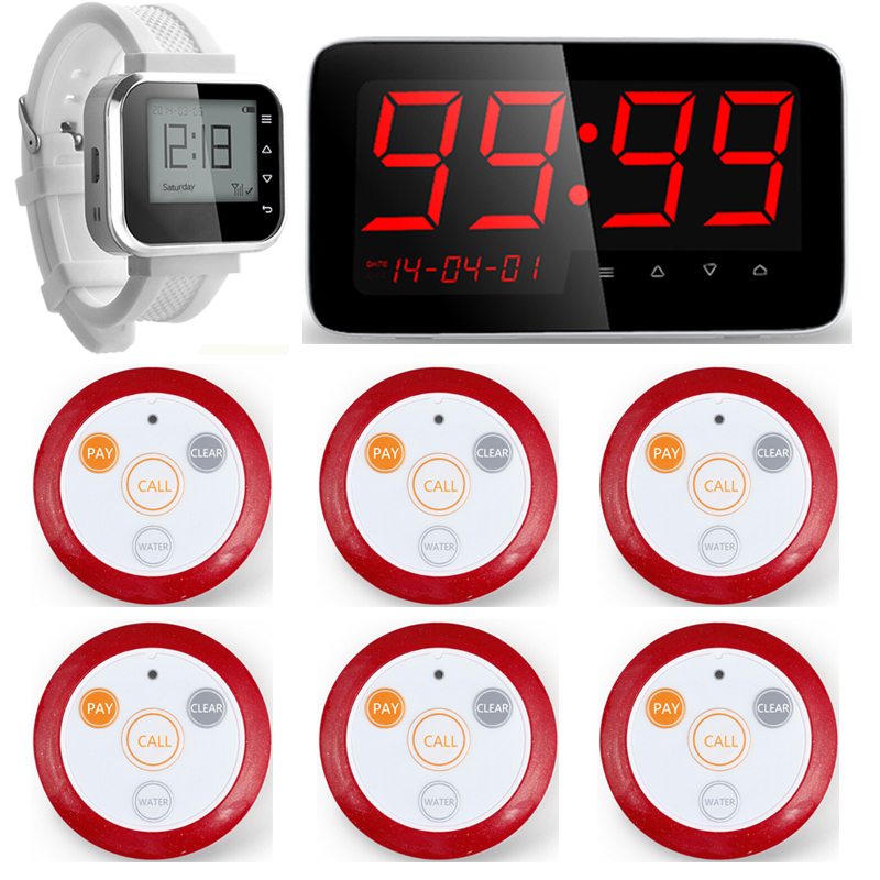 C166 Restaurant Waiter Service Calling System Watch Pager Service System+C1 Waiter Calling Paging System +F64 Call Transmitter one set wireless system waiter caller bell service 1 watch wrist pager with 5pcs table customer button ce passed