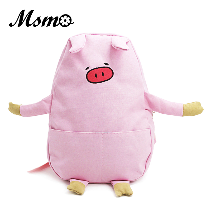 MSMO Cute Pig Canvas Backpack Piggy Shoulders Back Pack Cartoon Embroidery Backpacks For Teenage Girls School Bag Rucksack