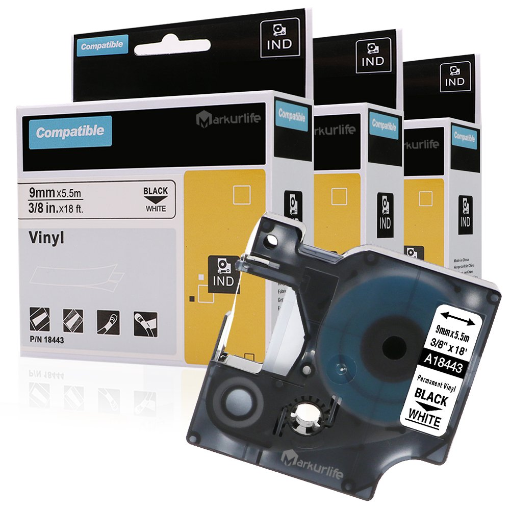 Black on WHITE VINYL LABEL Tape 18443 for DYMO RHINO 1000 3000 4200 5200 9mm 3//8