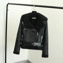 2016 Jaqueta de Inverno Nova Moda Grande Engrossar Lã de Carneiro Collar Faux Casacos De Couro Da Motocicleta 2016 Moda Casaco com Caixilhos