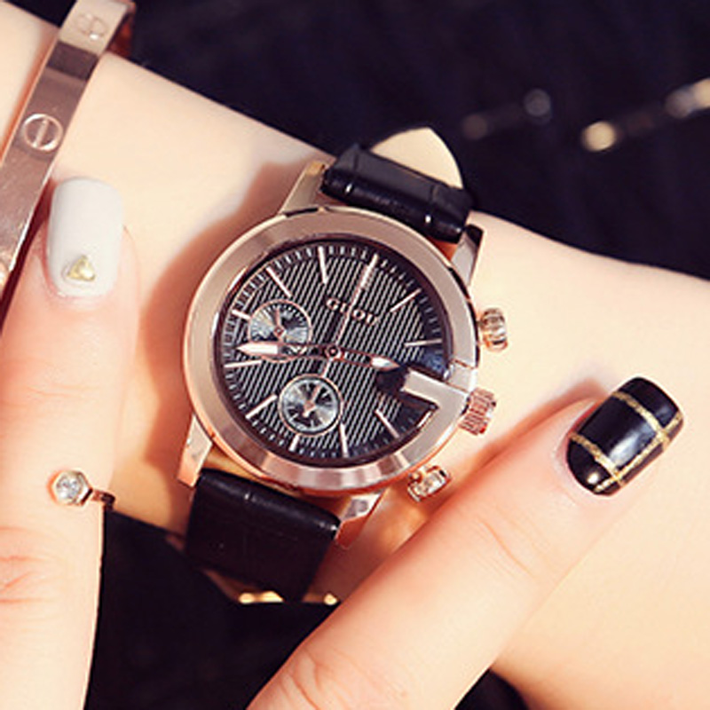 GUOU Ladies Watch Fashion Luxury Women's Watches Rose Gold Bracelet Women Watches Casual Leather Clock relogio feminino saat duoya 2017 fashion ladies watches women luxury leaf fabric gold wrist for women bracelet vintage sport clock watch christmas gif