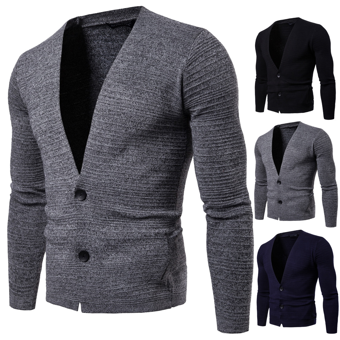 YM010 New Fashion Autumn Clothing Young Men's Pullovers Solid-color Slim Knitted Cardigan Sweater Coat