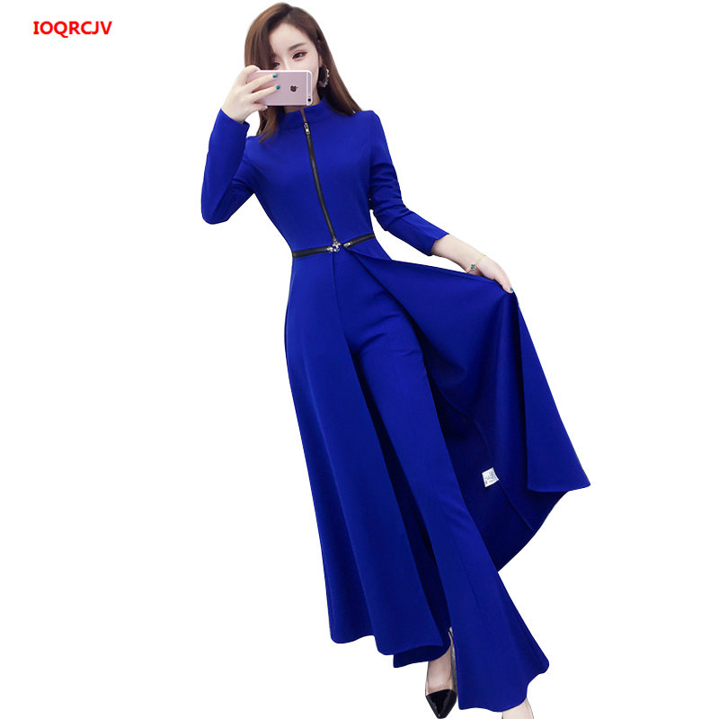 2019Spring Autumn Two-piece Set Women's Elegant Wide-leg Trousers Suit Ladies Split Dress +High Waist Wide Leg Pants Women Suit