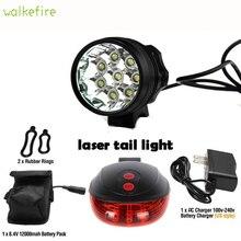 Светодиодный велосипедный фонарь Walkfire 12000 люмен 8 x XML T6 + задний лазерный для велосипеда, Водонепроницаемый Горный акк...