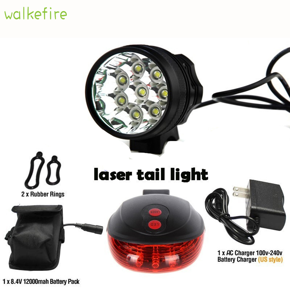 Walkfire 12000 Lumen 8 x XML T6 Led Bicycle Light + Bike Rear Laser Tail Light Waterproof Mountain+18650 Battery Pack+Charger sitemap 8 xml