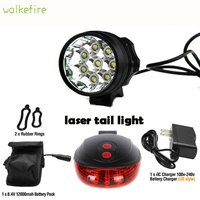 Walkfire 12000 Lumen 8 x XML T6 Led Bicycle Light + Bike Rear Laser Tail Light Waterproof Mountain+18650 Battery Pack+Charger