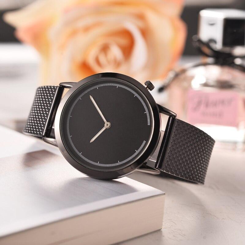 Concise Simple Unisex Watches Leisure Quartz Belt Mesh Strap Rose Gold Minimalist Creative Wristwatch Relogio Masculino