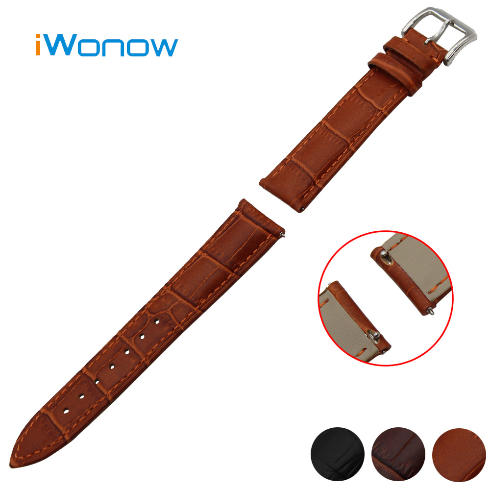 купить Genuine Leather Watch Band 18mm for Withings Activite / Steel / Pop Stainless Pin Buckle Strap Quick Release Wrist Belt Bracelet недорого