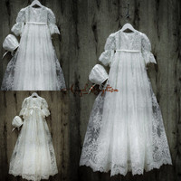 Beaded Vintage long sleeves White/ ivory lace infant girl baptism dress baby christening dresses long gown with hat and sash
