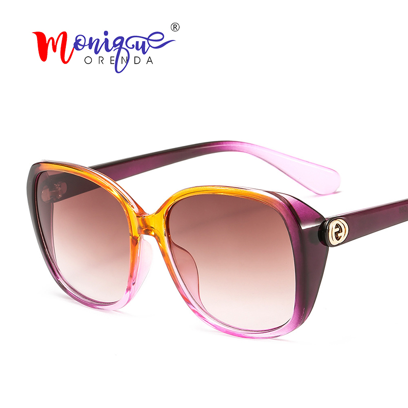 Oversized Sunglasses Eyewear Big-Frame Gradient Transparent Vintage Women Retro Luxury