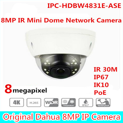 Brand Free Shipping CCTV IP Camera 4K 8MP IR Mini Dome Network Camera IP67 IK10 With POE without Logo IPC-HDBW4831E-ASE free shipping dahua ip camera cctv 6mp wdr ir eyeball network camera with poe ip67 without logo ipc hdw5631r ze